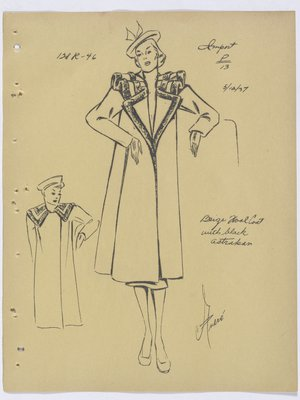 Francevrainmant Coat with Fur Trim along Collar and Lapel