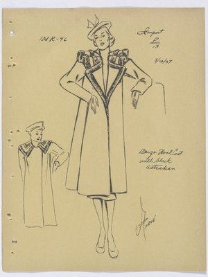 Francevrainmant Coat with Fur Trim along Collar and Lapel