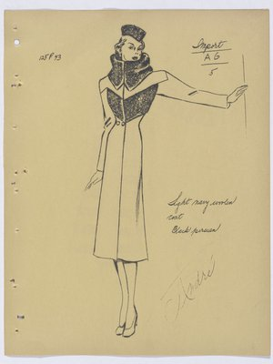 Mainbocher Coat with Fur Collar and Fur at Top