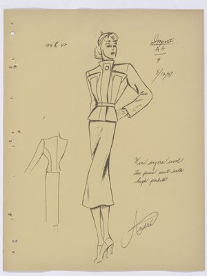 Mainbocher Suit with High Pockets on Jacket