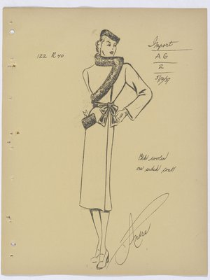 Mainbocher Coat with Fur Trim and Bow at Waist