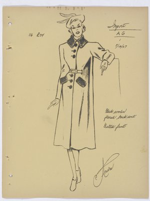 Mainbocher Coat with Belted Front and Fur Collar and Pockets