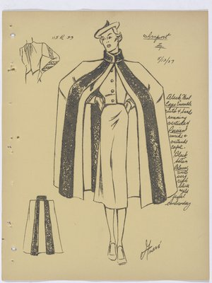 Maggy Rouff Cape Ensemble with Vertical Fur Bands