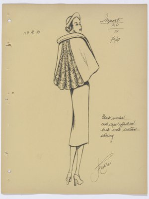 Schiaparelli Coat with Cape Effect at Back, with Curtain Shirring