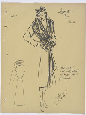 Vionnet Coat with Fur Collar and Bow at Waist