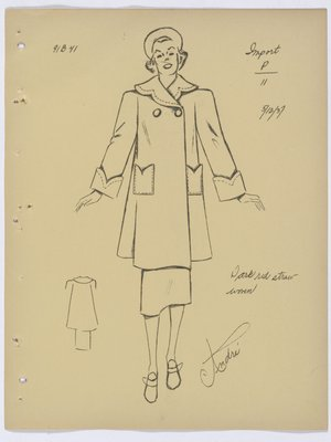 Francevrainmant Coat with Topstitching on Collar, Pockets and Cuff