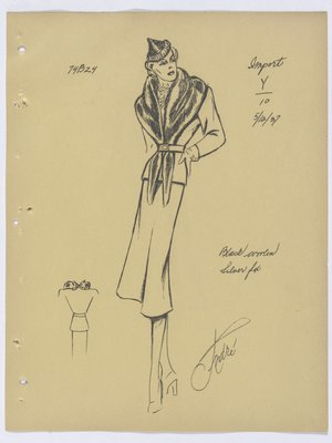 Lucille Paray Suit with Fur Collar Continued To Waist