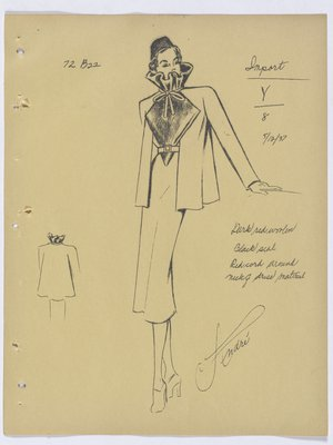 Lucille Paray Suit with Fur Top and High Collar