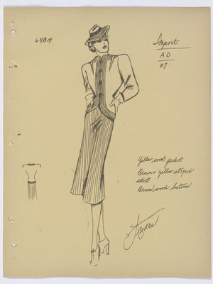 Schiaparelli Suit with Lines down Front of Jacket and on Skirt