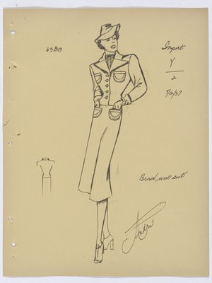 Lucille Paray Suit with Four Pockets and Pointed Lapels