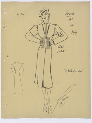 Schiaparelli Coat with Vertical Tucks and Pockets at Waist