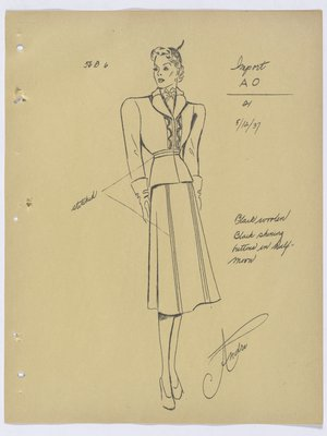 Schiaparelli Suit with Stitching at Waist and down Skirt