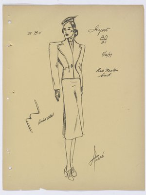 Schiaparelli Suit with Topstitching on Lapels and Pockets
