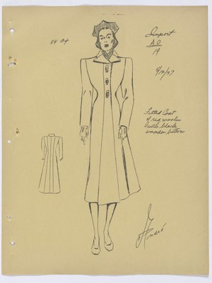 Schiaparelli Coat with Sets of Three Buttons down Front