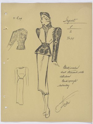 Francevrainmant Suit with Fur at Top and Spangle Embroidery
