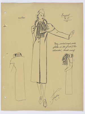 Schiaparelli Coat with Mink Scarf and Folds at Shoulder