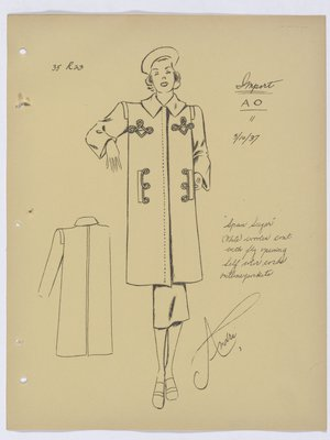 Spun Sugar Schiaparelli Coat with Cords Around Pockets