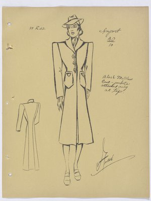 Schiaparelli Coat with Pockets Attached Only at Top