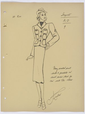 Schiaparelli Suit with Three Pockets on Each Side