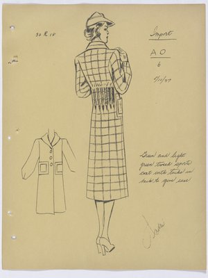 Schiaparelli Tweed Coat with Vertical Tucks at Back
