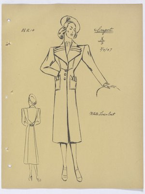 Lucien Lelong Coat with Triple Pointed Lapels