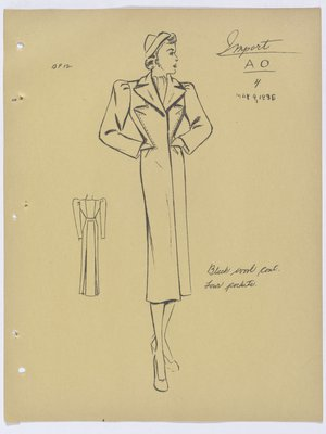 Schiaparelli Coat with Topstitching along Four Pockets