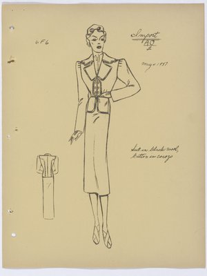 Schiaparelli Suit with Dark Trim and Six Buttons at Top