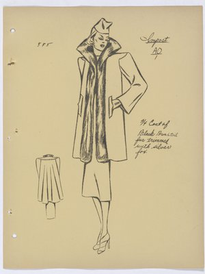 Schiaparelli Coat with Fur Collar and Trim down Front