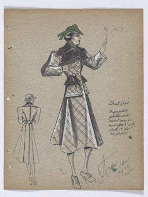 Great Coat with Fur Collar and Trim on Patch Pockets, with Green Hat