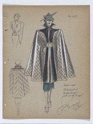 Cape with Dark Trim on Collar and down Front, with Green Suit and Hat