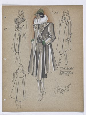Coat and Suit with Lines on Lapel and Top, with Green Hat and Gloves
