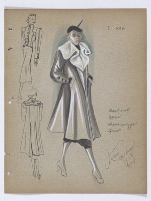 Coat with White Fur Collar, Worn with Black Skirt and Hat