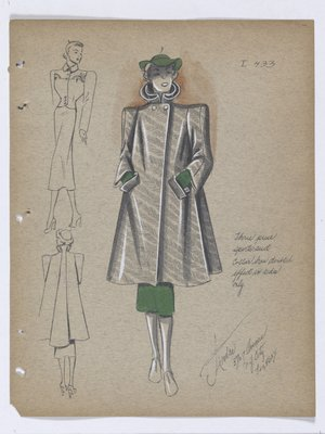 Coat with Doubled Effect on Collar, with Green Skirt, Hat and Gloves