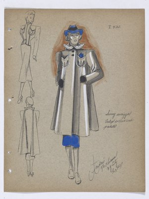 Coat with Tulip Collar and Pockets, with Blue Skirt and Hat