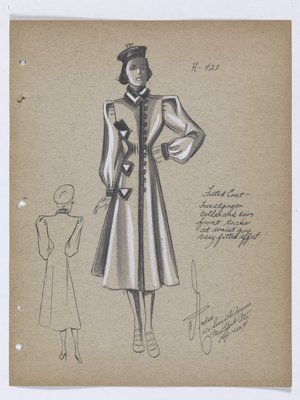 Fitted Coat with Buttons down Front and Triangle Pockets