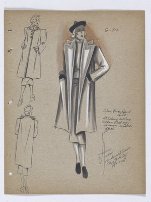 Coat with Lines Outlining Pointed Collar and down Opening