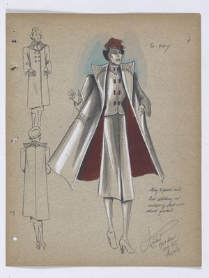 Coat and Suit with Red Buttons, Hat and Lining