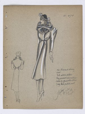 Coat with Fur Collar, Layers over Shoulder, and Tucks at Waist