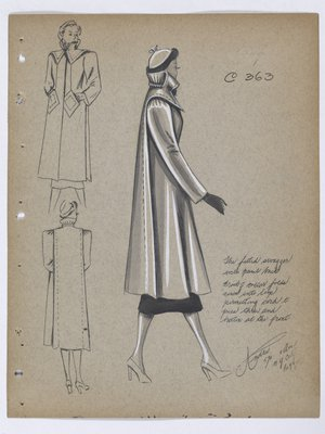 Coat with Topstitching along Panel at Back, with Black Skirt