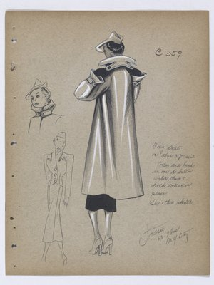 Boxy Coat with Collar and Band that Buttons under Chin
