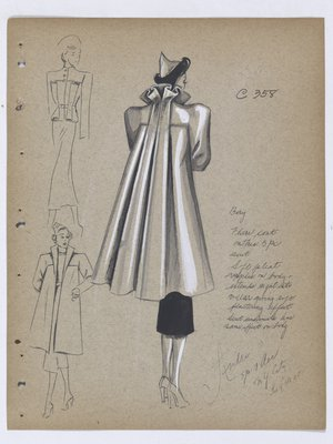 Coat with Pleats at Back and Ripple Effect on Collar