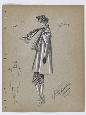 Coat with Pleats and Fold at Shoulder, with Plaid Scarf and Skirt