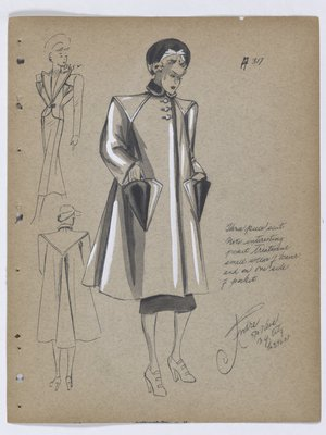 Coat with Small Fur Collar and Fur on Triangle Pockets