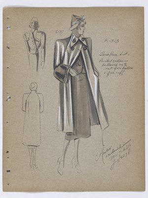 Coat with Pointed Collar and Fur Buttons and Cuff, with Suit
