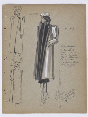 Tuxedo Swagger Coat with Black Collar and Pleat down Front