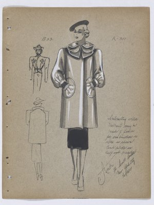 Coat with Folded Collar and Circular Pockets, with Black Skirt