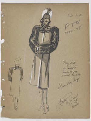 Coat with Animal Faces at Neck and Fur Sleeves