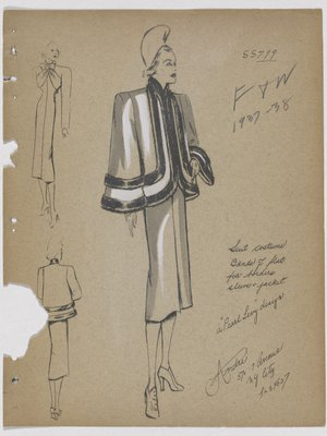 Suit with Bands of Fur on Jacket and Sleeve