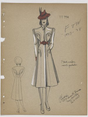 Coat with Four Curved Pockets with Topstitching Trim, with Red Belt