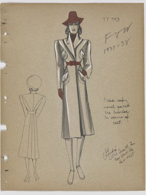 Coat with Four Flap Pockets Inserted in Seams, with Red Accessories